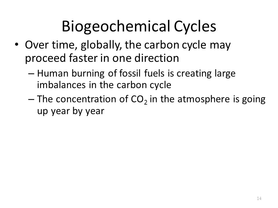 14 Biogeochemical Cycles Over time, globally, the carbon cycle may proceed faster in one direction – Human burning of fossil fuels is creating large imbalances in the carbon cycle – The concentration of CO 2 in the atmosphere is going up year by year