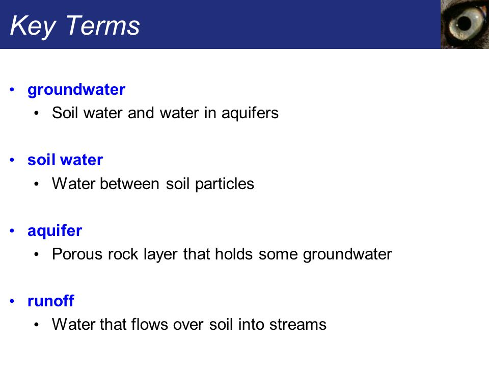 Key Terms groundwater Soil water and water in aquifers soil water Water between soil particles aquifer Porous rock layer that holds some groundwater runoff Water that flows over soil into streams