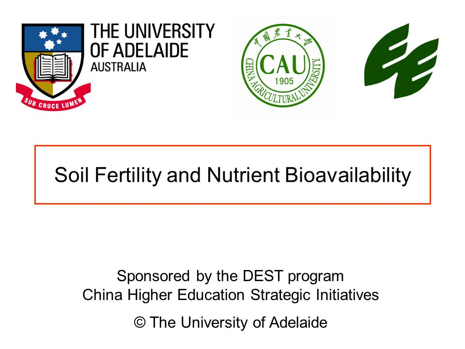 Soil Fertility and Nutrient Bioavailability Sponsored by the DEST program China Higher Education Strategic Initiatives © The University of Adelaide