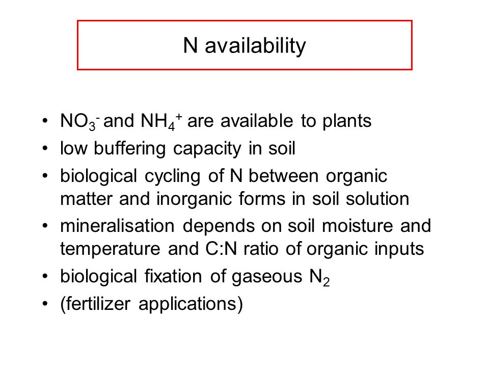 N availability NO 3 - and NH 4 + are available to plants low buffering capacity in soil biological cycling of N between organic matter and inorganic forms in soil solution mineralisation depends on soil moisture and temperature and C:N ratio of organic inputs biological fixation of gaseous N 2 (fertilizer applications)