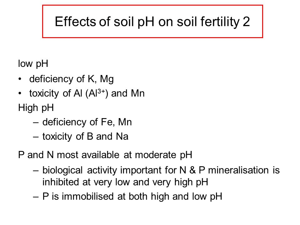 Effects of soil pH on soil fertility 2 low pH deficiency of K, Mg toxicity of Al (Al 3+ ) and Mn High pH –deficiency of Fe, Mn –toxicity of B and Na P and N most available at moderate pH –biological activity important for N & P mineralisation is inhibited at very low and very high pH –P is immobilised at both high and low pH