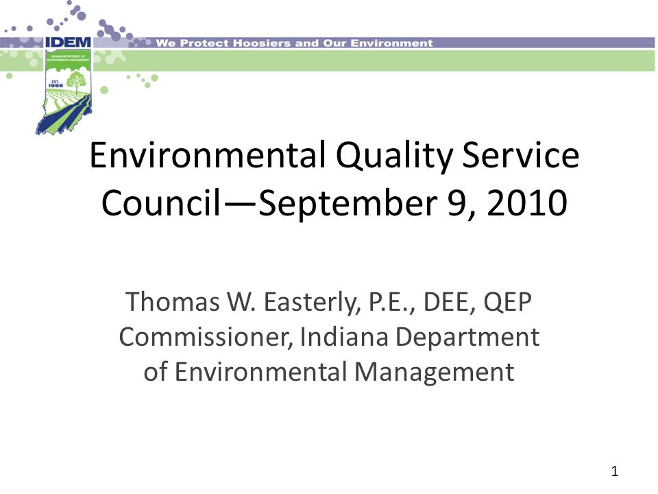 Environmental Quality Service Council—September 9, 2010 Thomas W.
