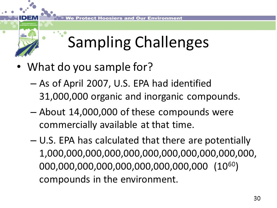 Sampling Challenges What do you sample for. – As of April 2007, U.S.