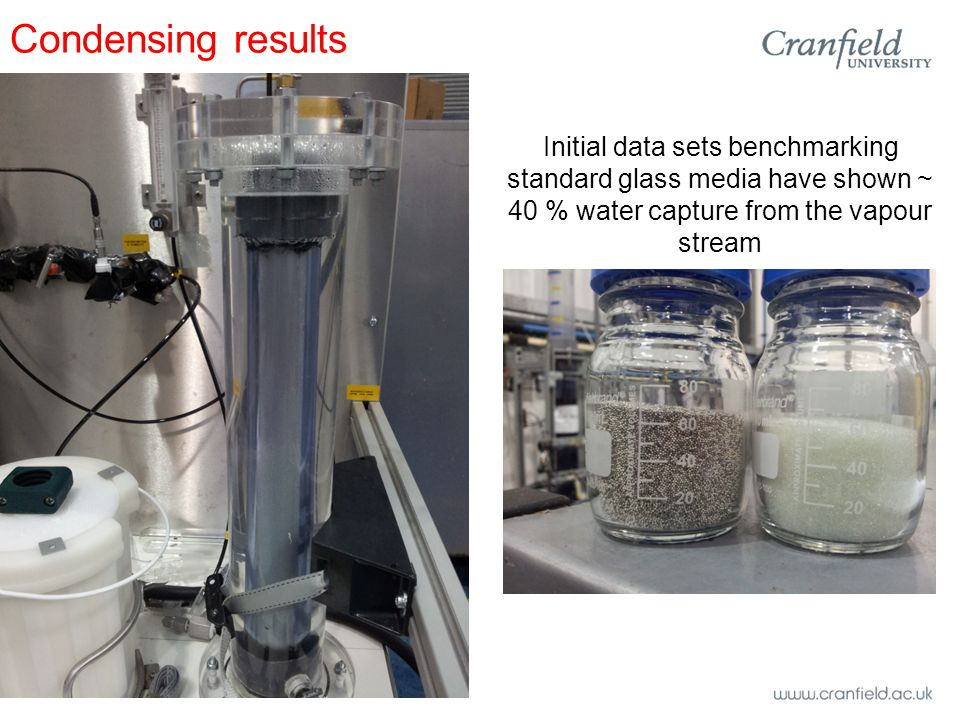 Condensing results Initial data sets benchmarking standard glass media have shown ~ 40 % water capture from the vapour stream
