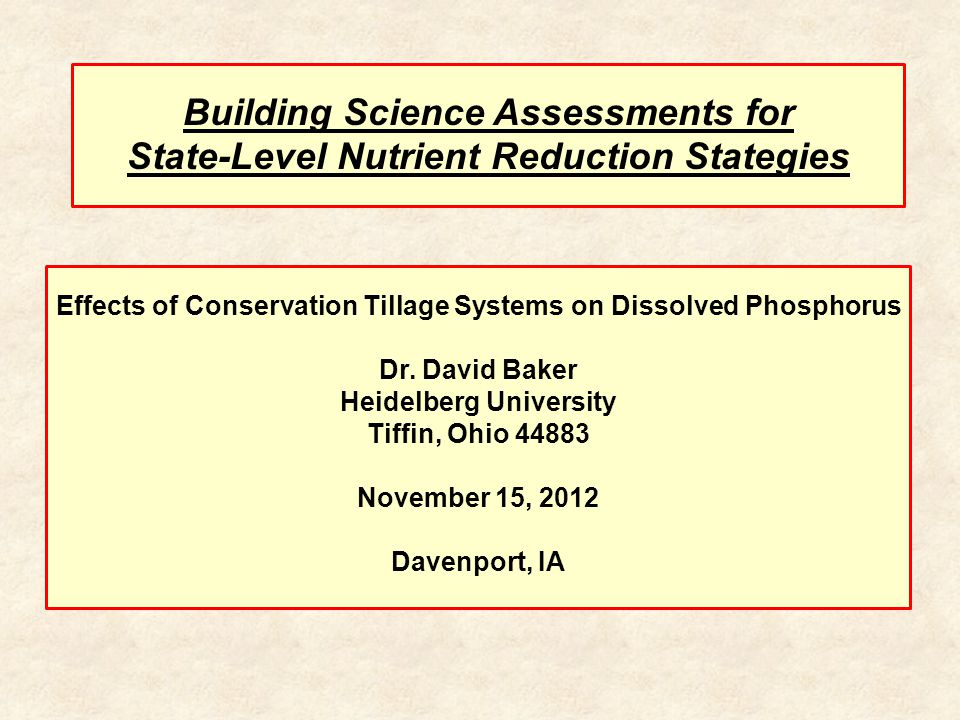 Effects of Conservation Tillage Systems on Dissolved Phosphorus Dr.
