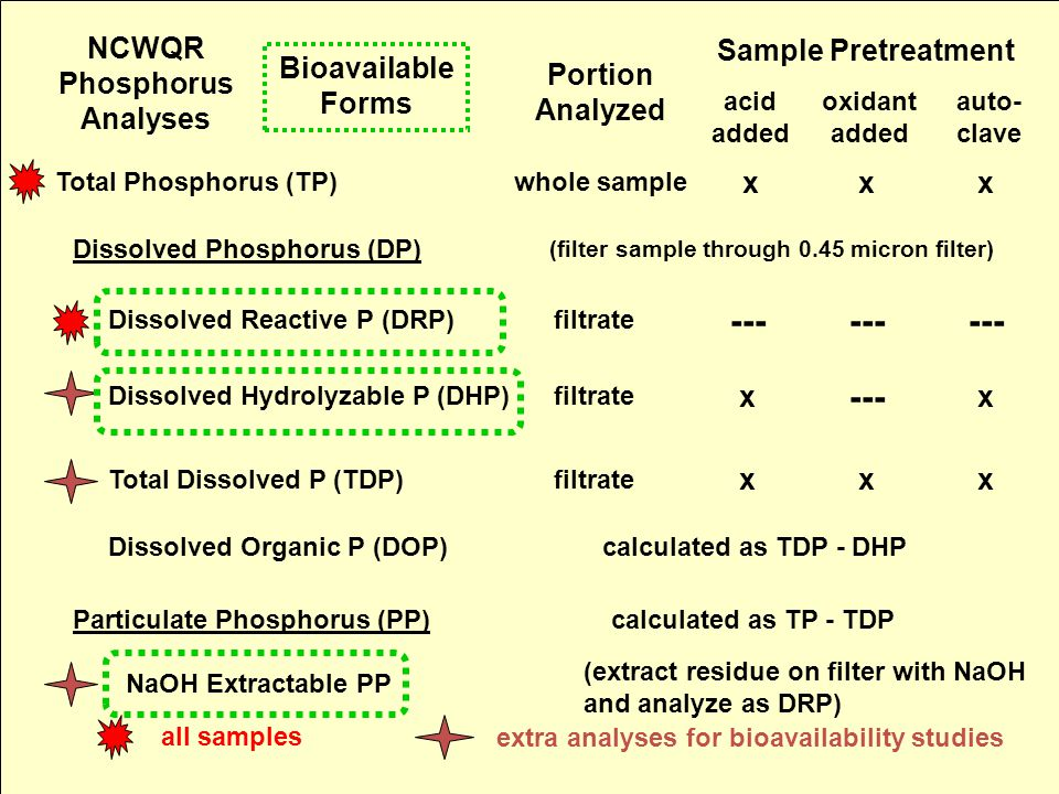 NCWQR Phosphorus Analyses Sample Pretreatment Portion Analyzed acid added oxidant added auto- clave Dissolved Phosphorus (DP) (filter sample through 0.45 micron filter) Total Phosphorus (TP)whole sample xxx NaOH Extractable PP (extract residue on filter with NaOH and analyze as DRP) Particulate Phosphorus (PP)calculated as TP - TDP Dissolved Organic P (DOP)calculated as TDP - DHP Total Dissolved P (TDP) x xx filtrate Dissolved Hydrolyzable P (DHP) xx filtrate --- Dissolved Reactive P (DRP)filtrate --- all samples extra analyses for bioavailability studies Bioavailable Forms