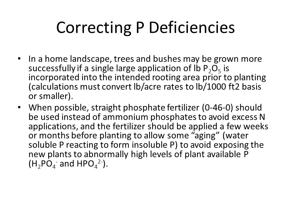 Correcting P Deficiencies In a home landscape, trees and bushes may be grown more successfully if a single large application of lb P 2 O 5 is incorporated into the intended rooting area prior to planting (calculations must convert lb/acre rates to lb/1000 ft2 basis or smaller).