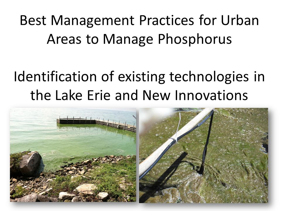 Best Management Practices for Urban Areas to Manage Phosphorus Identification of existing technologies in the Lake Erie and New Innovations