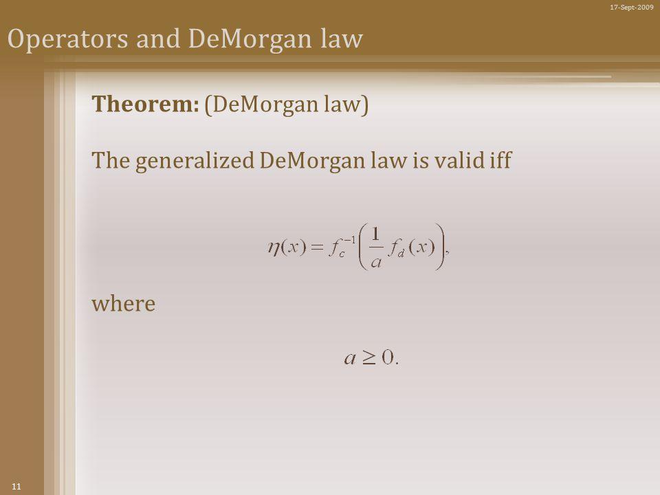 11 17-Sept-2009 Operators and DeMorgan law Theorem: (DeMorgan law) The generalized DeMorgan law is valid iff where