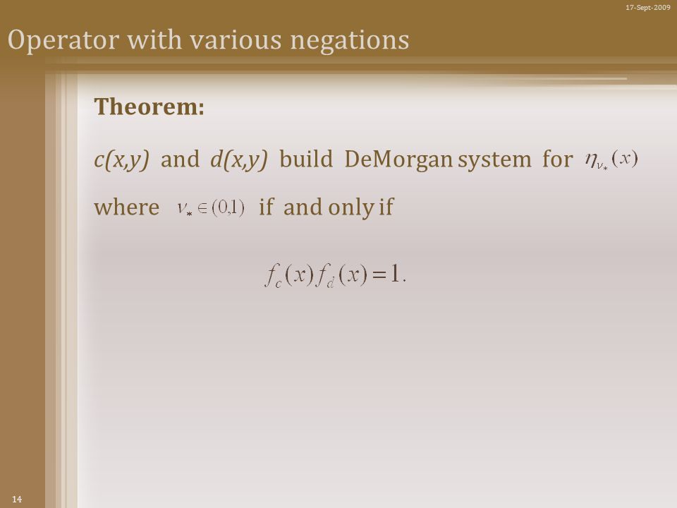 14 17-Sept-2009 Operator with various negations Theorem: c(x,y) and d(x,y) build DeMorgan system for where if and only if