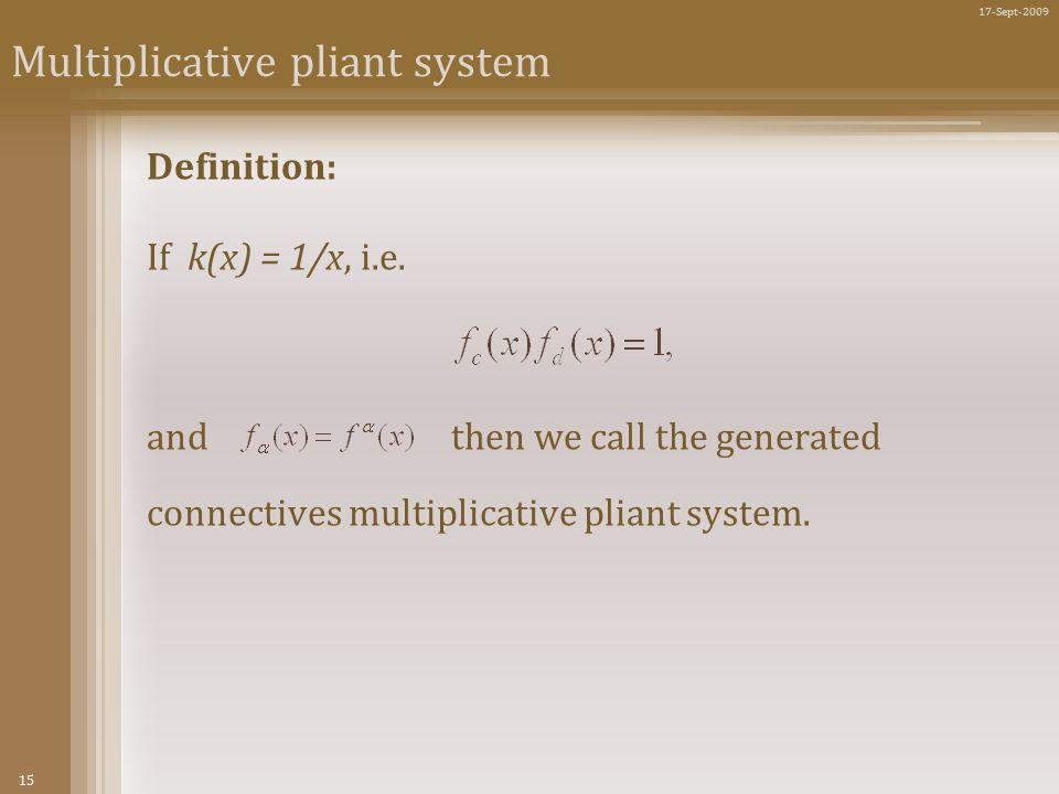 15 17-Sept-2009 Multiplicative pliant system Definition: If k(x) = 1/x, i.e.