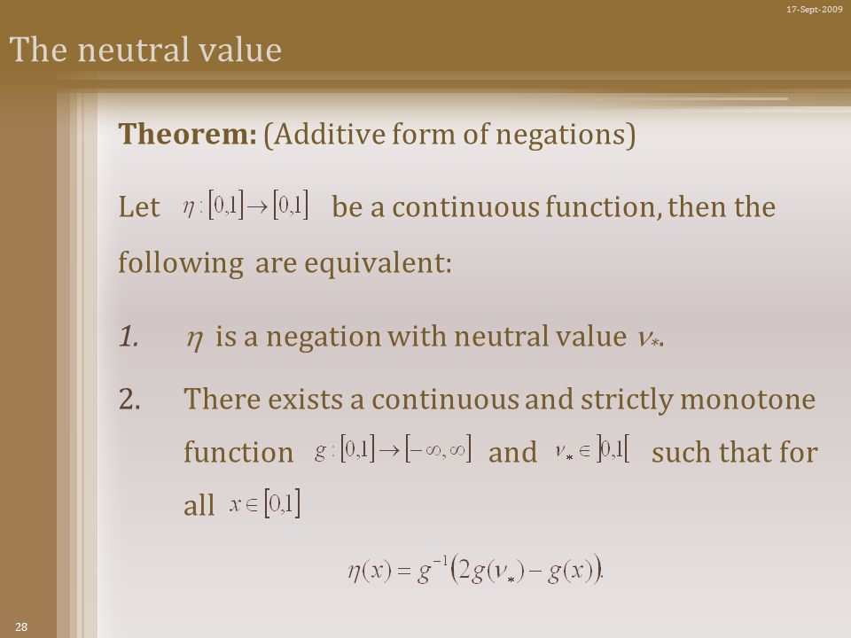 28 17-Sept-2009 The neutral value Theorem: (Additive form of negations) Let be a continuous function, then the following are equivalent: 1.
