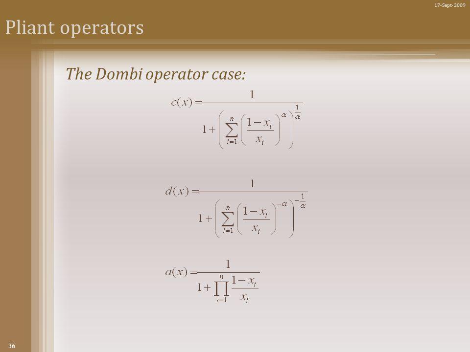 36 17-Sept-2009 Pliant operators The Dombi operator case: