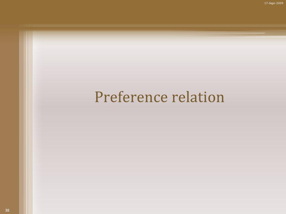 38 17-Sept-2009 Preference relation
