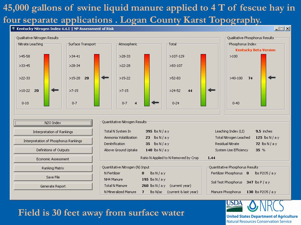 45,000 gallons of swine liquid manure applied to 4 T of fescue hay in four separate applications.