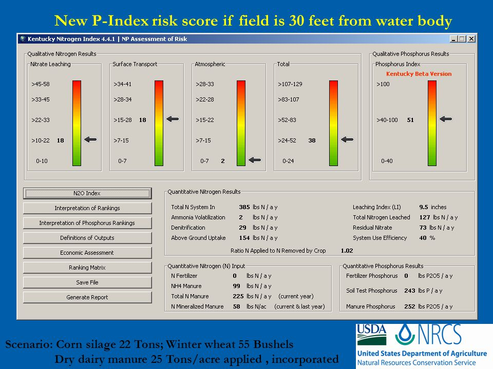 New P-Index risk score if field is 30 feet from water body Scenario: Corn silage 22 Tons; Winter wheat 55 Bushels Dry dairy manure 25 Tons/acre applied, incorporated