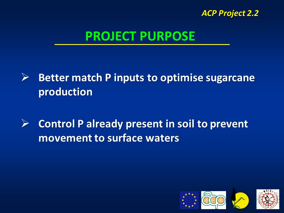  Better match P inputs to optimise sugarcane production  Control P already present in soil to prevent movement to surface waters PROJECT PURPOSE ACP Project 2.2