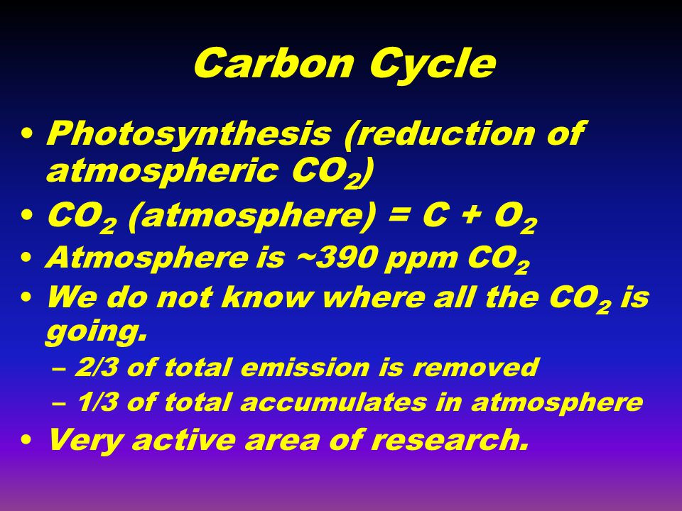 Carbon Cycle Photosynthesis (reduction of atmospheric CO 2 ) CO 2 (atmosphere) = C + O 2 Atmosphere is ~390 ppm CO 2 We do not know where all the CO 2