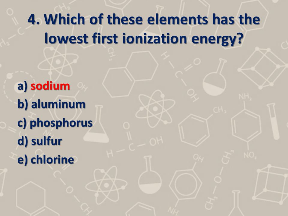 4. Which of these elements has the lowest first ionization energy? a) sodium b) aluminum c) phosphorus d) sulfur e) chlorine
