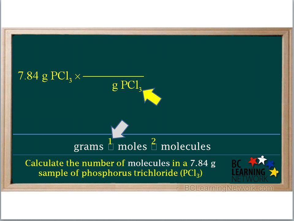 Calculate the number of molecules in a 7.84 g sample of phosphorus trichloride (PCl 3 ) grams  moles  molecules 12