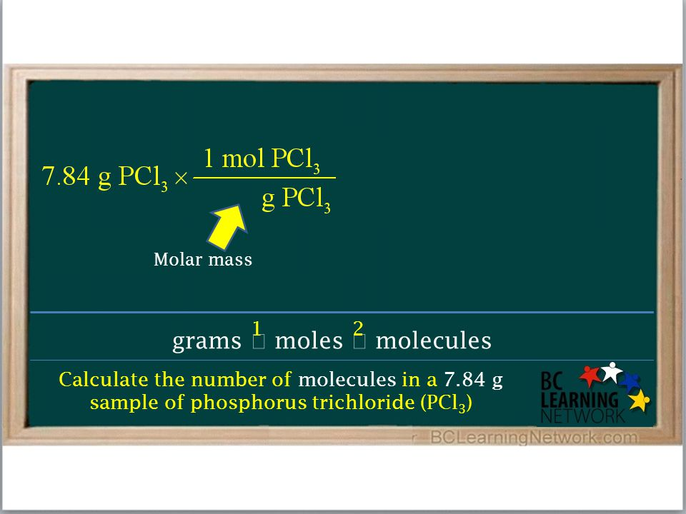 Calculate the number of molecules in a 7.84 g sample of phosphorus trichloride (PCl 3 ) grams  moles  molecules 12 Molar mass
