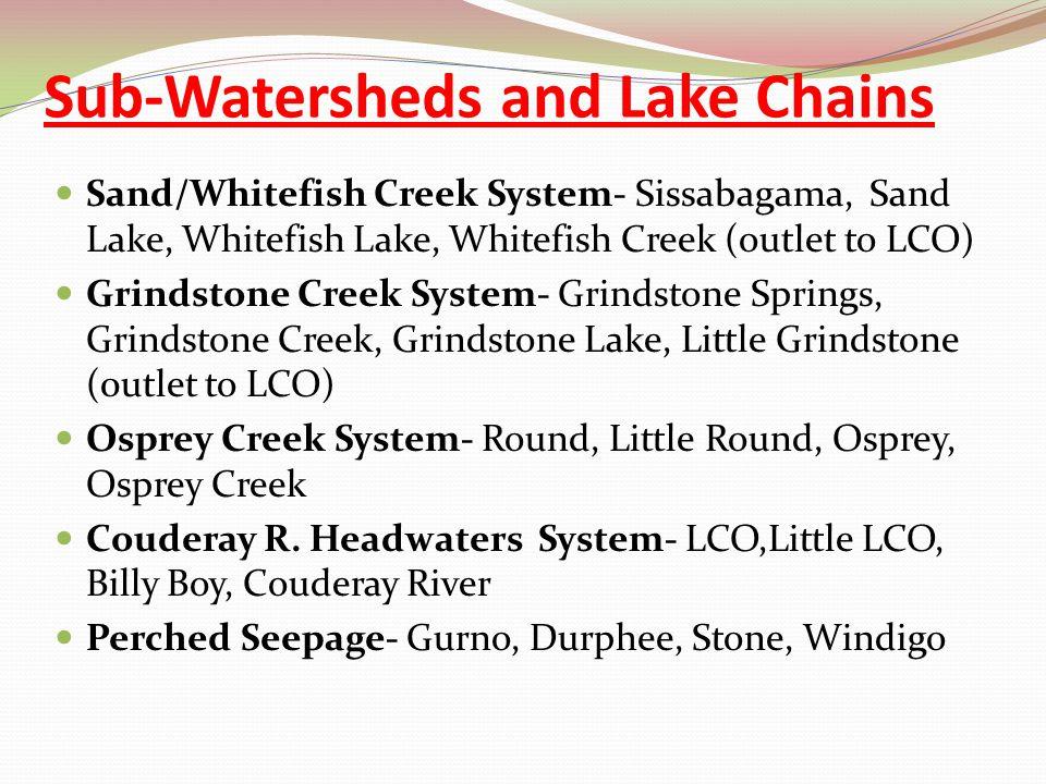 Sub-Watersheds and Lake Chains Sand/Whitefish Creek System- Sissabagama, Sand Lake, Whitefish Lake, Whitefish Creek (outlet to LCO) Grindstone Creek System- Grindstone Springs, Grindstone Creek, Grindstone Lake, Little Grindstone (0utlet to LCO) Osprey Creek System- Round, Little Round, Osprey, Osprey Creek Couderay R.