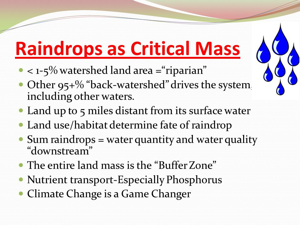 "Raindrops as Critical Mass < 1-5% watershed land area =""riparian"" Other 95+% ""back-watershed"" drives the system, including other waters. Land up to 5"