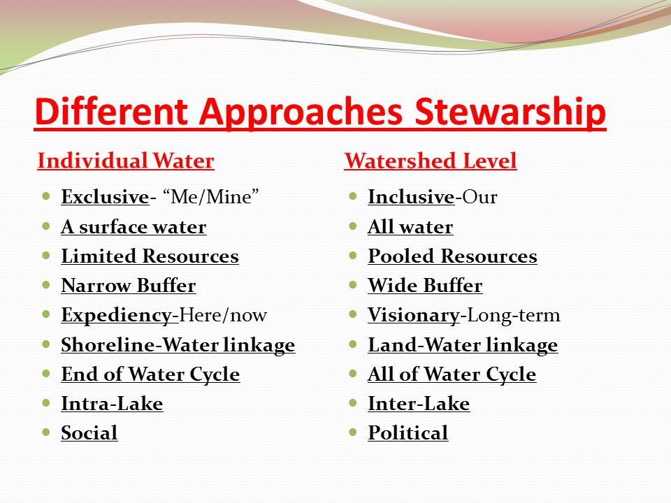 "Different Approaches Stewarship Individual Water Watershed Level Exclusive- ""Me/Mine"" A surface water Limited Resources Narrow Buffer Expediency-Here/"
