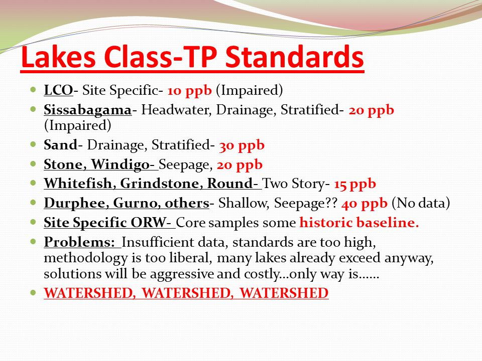Lakes Class-TP Standards LCO- Site Specific- 10 ppb (Impaired) Sissabagama- Headwater, Drainage, Stratified- 20 ppb (Impaired) Sand- Drainage, Stratif