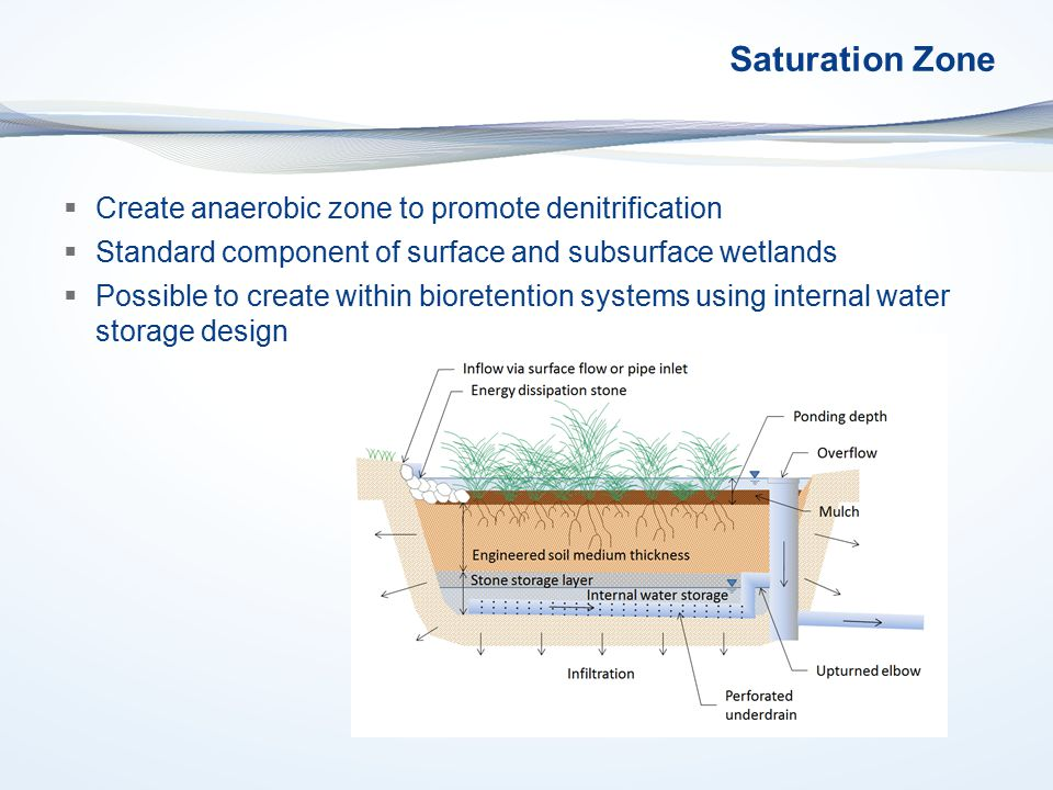 Saturation Zone  Create anaerobic zone to promote denitrification  Standard component of surface and subsurface wetlands  Possible to create within bioretention systems using internal water storage design