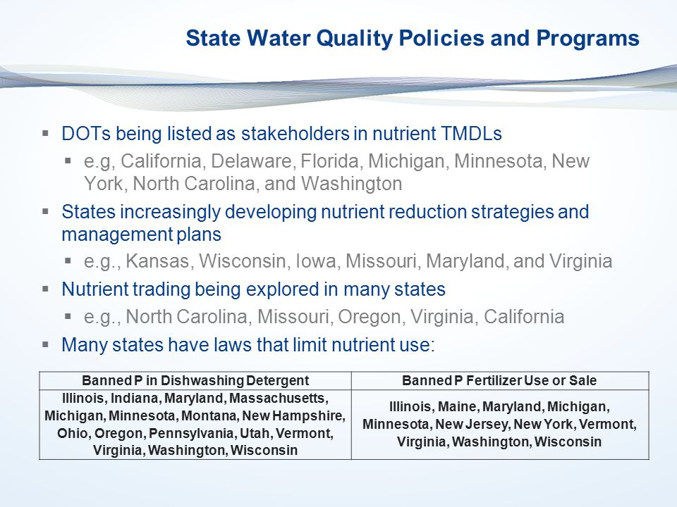 State Water Quality Policies and Programs  DOTs being listed as stakeholders in nutrient TMDLs  e.g, California, Delaware, Florida, Michigan, Minnesota, New York, North Carolina, and Washington  States increasingly developing nutrient reduction strategies and management plans  e.g., Kansas, Wisconsin, Iowa, Missouri, Maryland, and Virginia  Nutrient trading being explored in many states  e.g., North Carolina, Missouri, Oregon, Virginia, California  Many states have laws that limit nutrient use: Banned P in Dishwashing DetergentBanned P Fertilizer Use or Sale Illinois, Indiana, Maryland, Massachusetts, Michigan, Minnesota, Montana, New Hampshire, Ohio, Oregon, Pennsylvania, Utah, Vermont, Virginia, Washington, Wisconsin Illinois, Maine, Maryland, Michigan, Minnesota, New Jersey, New York, Vermont, Virginia, Washington, Wisconsin