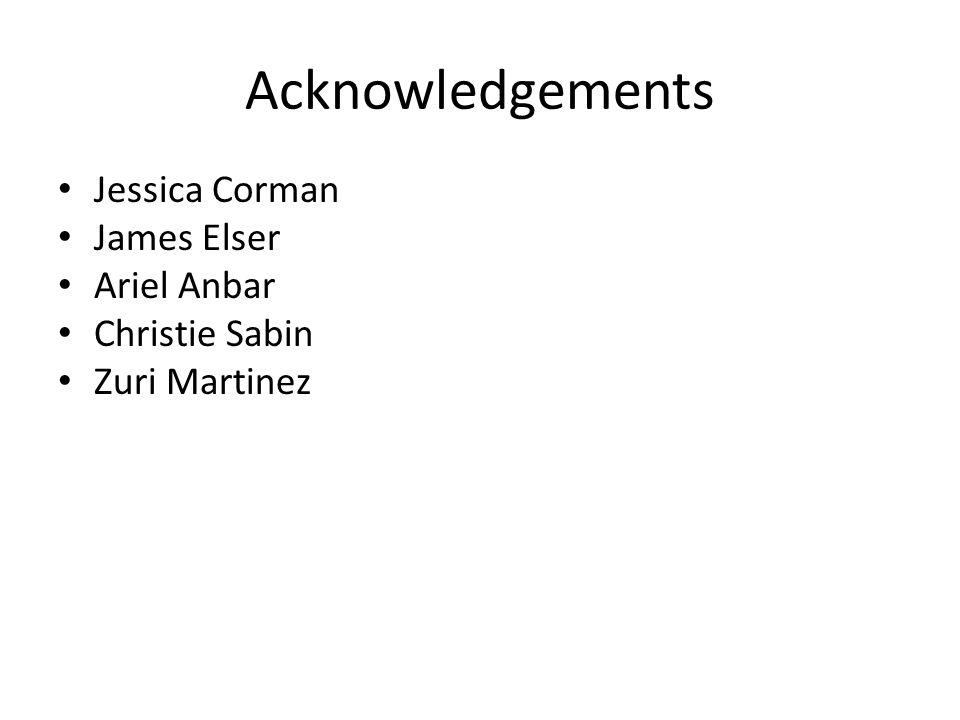 Acknowledgements Jessica Corman James Elser Ariel Anbar Christie Sabin Zuri Martinez