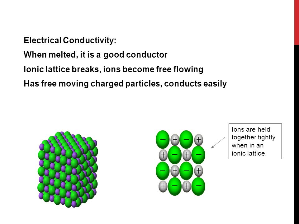 Electrical Conductivity: When melted, it is a good conductor Ionic lattice breaks, ions become free flowing Has free moving charged particles, conduct