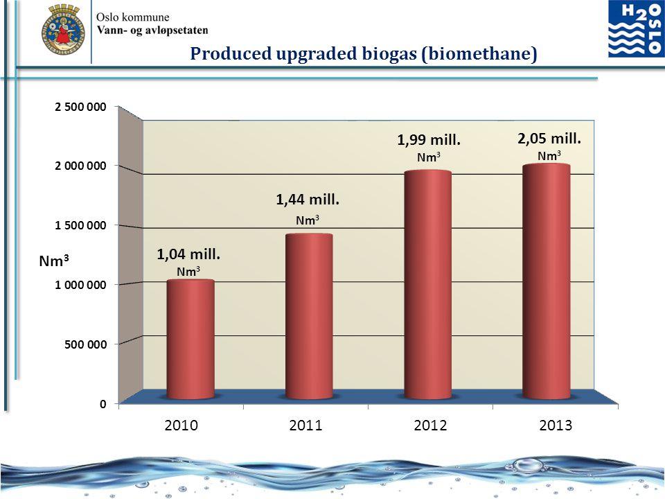 17 Produced upgraded biogas (biomethane)
