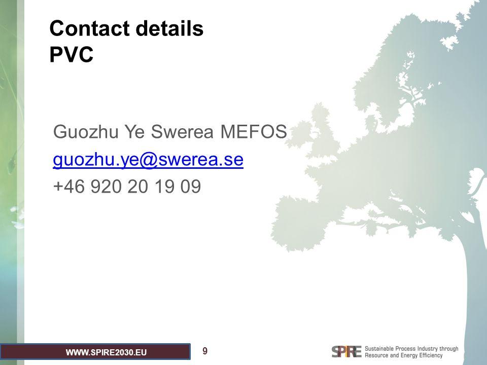 WWW.SPIRE2030.EU Contact details PVC Guozhu Ye Swerea MEFOS guozhu.ye@swerea.se +46 920 20 19 09 9