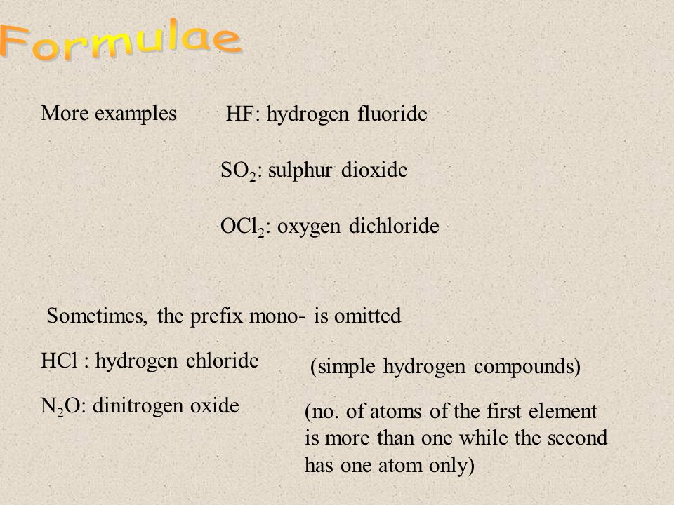 Examples (molecule containing two atoms only): 1. CO 2 2.