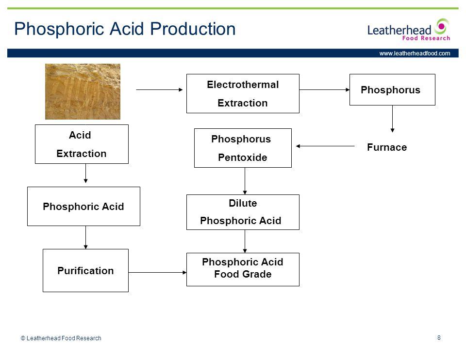 www.leatherheadfood.com 8 © Leatherhead Food Research Phosphoric Acid Production Electrothermal Extraction Phosphorus Acid Extraction Purification Phosphoric Acid Phosphoric Acid Food Grade Furnace Phosphorus Pentoxide Dilute Phosphoric Acid
