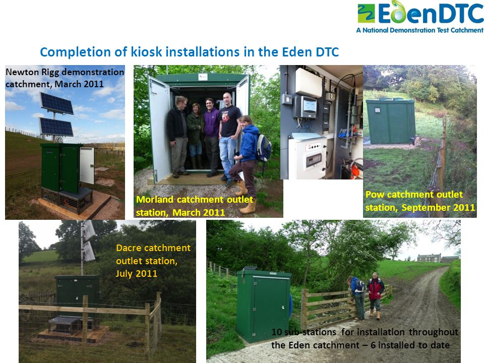 Completion of kiosk installations in the Eden DTC Newton Rigg demonstration catchment, March 2011 Morland catchment outlet station, March 2011 Pow catchment outlet station, September 2011 Dacre catchment outlet station, July 2011 10 sub-stations for installation throughout the Eden catchment – 6 installed to date