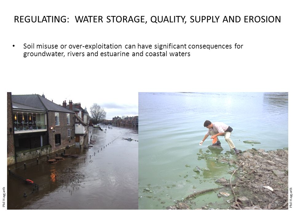 REGULATING: WATER STORAGE, QUALITY, SUPPLY AND EROSION Soil misuse or over-exploitation can have significant consequences for groundwater, rivers and estuarine and coastal waters Phil Haygarth