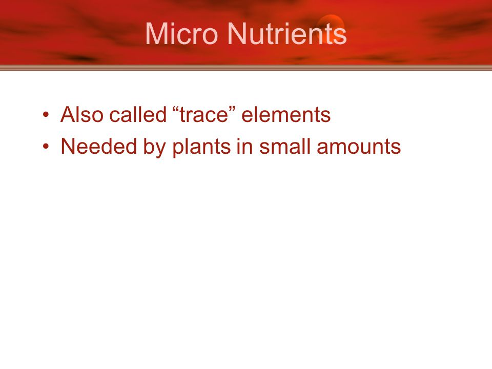 """Micro Nutrients Also called """"trace"""" elements Needed by plants in small amounts"""