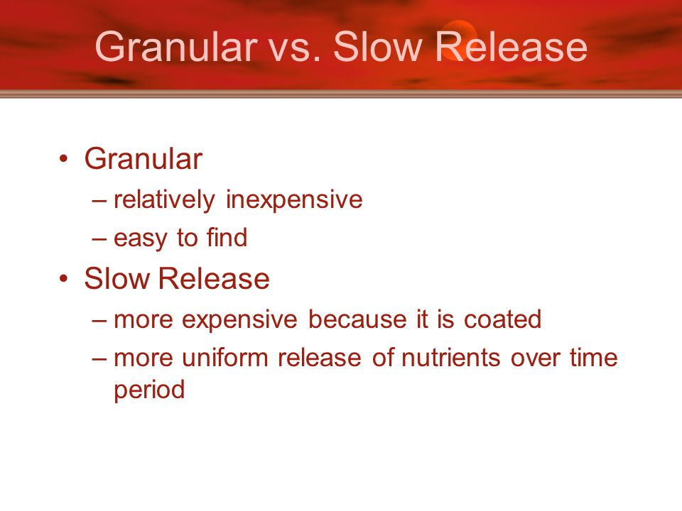 Granular vs. Slow Release Granular –relatively inexpensive –easy to find Slow Release –more expensive because it is coated –more uniform release of nu