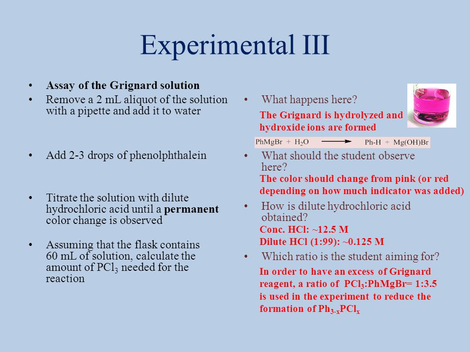 Experimental III Assay of the Grignard solution Remove a 2 mL aliquot of the solution with a pipette and add it to water Add 2-3 drops of phenolphthal