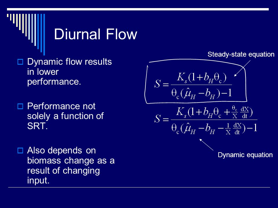 Diurnal Flow  Dynamic flow results in lower performance.