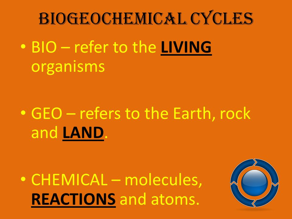 Biogeochemical Cycles Matter cycles through the environment.
