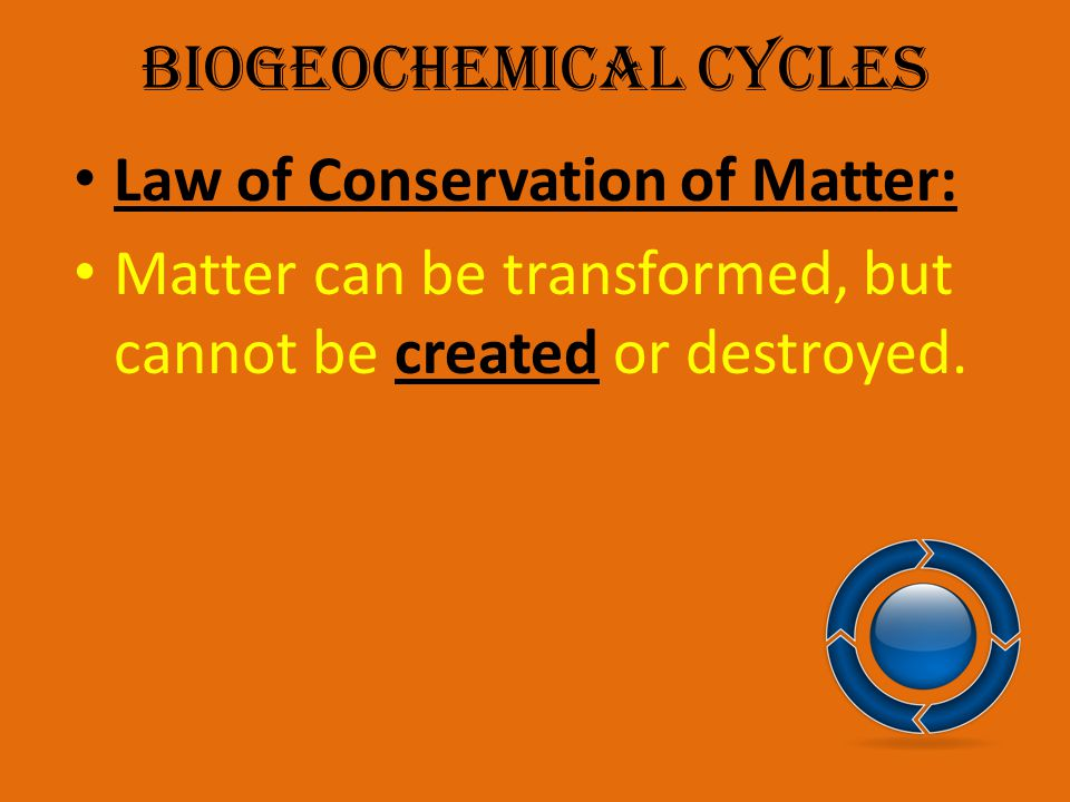 Biogeochemical Cycles Law of Conservation of Matter: Matter can be transformed, but cannot be created or destroyed.