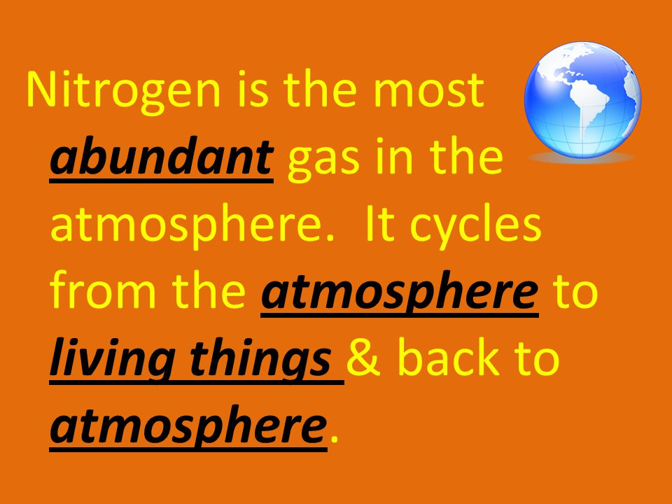 But living things cannot use it in its gas form, therefore living things get nitrogen from the food.