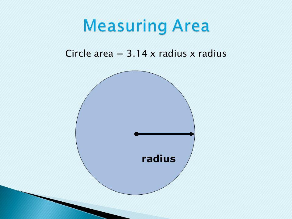 radius Circle area = 3.14 x radius x radius