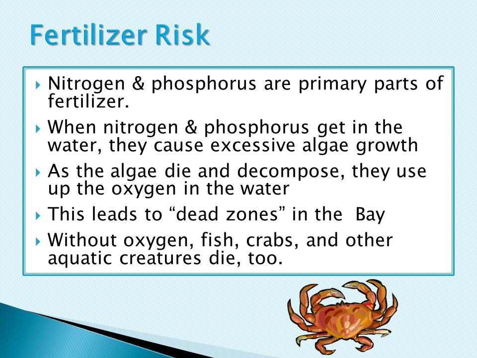  Nitrogen & phosphorus are primary parts of fertilizer.