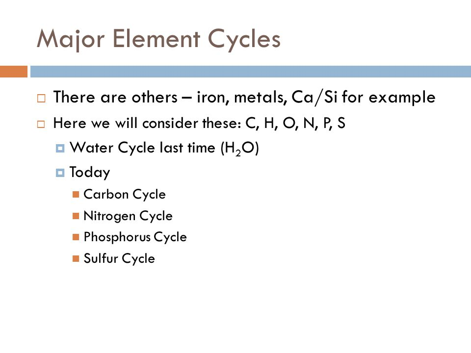 Let's Start with Carbon  More than 1 million known carbon compounds  Unique ability of carbon atoms to form long stable chains makes life possible  Oxidation states ranging from +IV to –IV  most common is +IV as in CO 2 and carbonate  CO in trace levels in atmosphere is +II  Assimilation of carbon by photosynthesis creates reduced carbon CH 2 O  CH 4, also trace gas is –IV