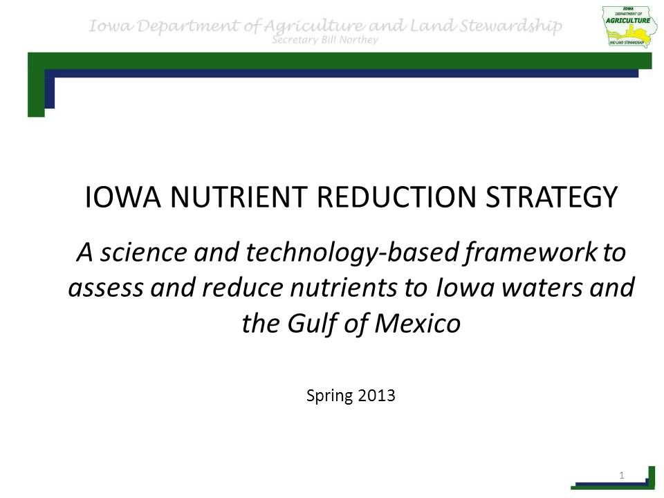 IOWA NUTRIENT REDUCTION STRATEGY A science and technology-based framework to assess and reduce nutrients to Iowa waters and the Gulf of Mexico Spring 2013 1